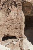 Petroglifi antichi sulle rocce a Yerbas Buenas nel deserto di Atacama nel Cile Fotografie Stock