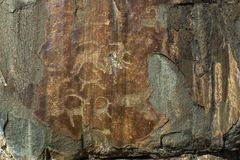 Petroglifi Pitture antiche della roccia nelle montagne di Altai Fotografia Stock
