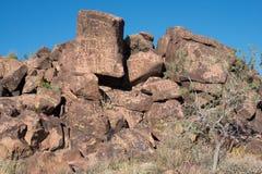 Petroglifi sulla pietra Fotografie Stock