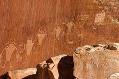 Petroglifo indiano della coltura di Fremont Fotografia Stock Libera da Diritti