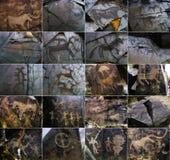 Petroglify na kamieniu w Tambaly lub Tamgaly Tas obrazy royalty free