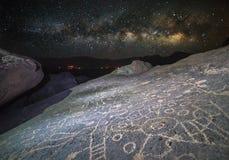 Petroglify w Powulkanicznych Tablelands Obrazy Stock