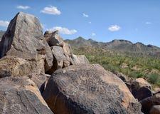 Petroglyph ή προϊστορικές γλυπτικές του Hohokam Στοκ Φωτογραφίες