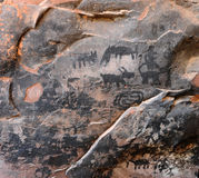 Petroglyph. S located in Honanki Ruins, Coconino NF, Red Canyon near Sedona AZ, USA.  Ancient Native American Rock Art.  Historic potected Heritage site Stock Photography
