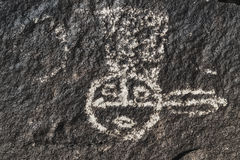 Petroglyph av en indian Royaltyfria Bilder