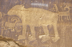 Petroglyph of a bear, Newspaper Rock, Southern UT Stock Images