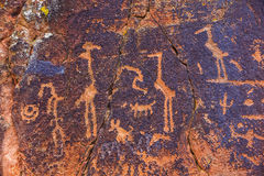 Petroglyph Birds and Other Symbols Stock Image