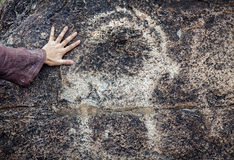 Petroglyph with goat Royalty Free Stock Photo