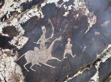 Petroglyph i Sarmishsay, Uzbekistan Royaltyfri Foto