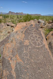 Petroglyph images in saguaro national forest Stock Photography