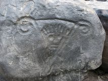 Petroglyph King of Atures, in litle island of orinoco Royalty Free Stock Photos