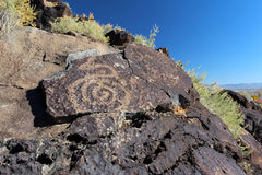 Petroglyph nationell monument för Petroglyph, Albuquerque som är ny - Mexiko Royaltyfria Bilder