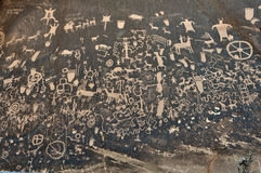 Petroglyph on Rock. Petroglyph on Newspaper Rock. The rock  is located by State Route 211 in Utah Stock Photo