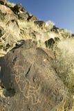 Petroglyphen des amerikanischen Ureinwohners am Petroglyphe-Nationaldenkmal, außerhalb Albuquerques, New Mexiko Lizenzfreies Stockbild