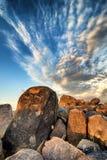 Petroglyphen im Saguaro-Nationalpark Stockfotografie