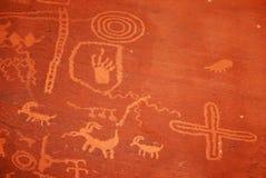 Petroglyphen im Tal des Feuerparks Stockfotografie