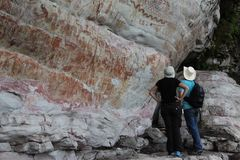 Petroglyphen in Kolumbien stockfotografie