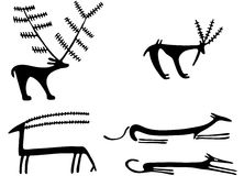 Petroglyphs. (also called rock engravings) are images created by removing part of a rock surface by incising, pecking, carving, and abrading. The oldest  are Royalty Free Stock Image