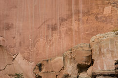 Petroglyphs of ancient Anasazi Indian tribe in Capitol Reef National Park Stock Images