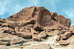 Petroglyphs antigos nas rochas em Yerbas Buenas no deserto de Atacama, o Chile, Ámérica do Sul fotografia de stock