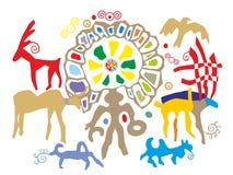Petroglyphs antigos para o uso nas ilustrações ou nos cartão ilustração stock