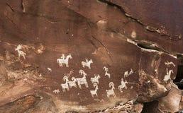 Petroglyphs at Arches National Park in Moab, Utah Royalty Free Stock Photos