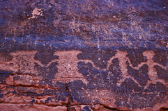 Petroglyphs on canyon wall. Valley of Fire SP Nevada royalty free stock photography