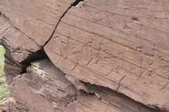 Petroglyphs. Cave paintings in the south of Siberia Stock Photos