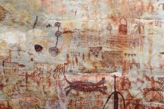 Petroglyphs in Colombia. Petroglyphs in the vicinity of the Colombian town of San Jose del Guaviare Stock Images