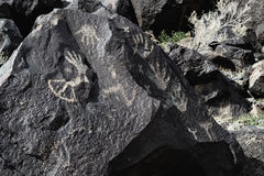 Petroglyphs of Designs Made from Hands. At Petroglyph National Monument royalty free stock photos