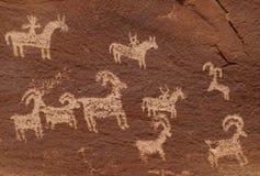Petroglyphs do rancho de Wolfe Imagem de Stock