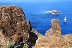 Petroglyphs on Easter Island. Horizontal image of petroglyphs at Orongo village, Easter Island stock photos