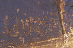 Petroglyphs of fish scales, Newspaper Rock, Southern UT Stock Images