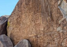 Petroglyphs in the Grapevine Canyon stock photos