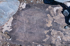 Petroglyphs of Kalbak-Tash in Altai, Siberia Stock Photos
