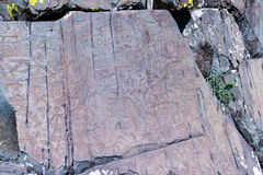 Petroglyphs of Kalbak-Tash in Altai, Siberia Royalty Free Stock Photos