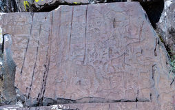 Petroglyphs of Kalbak-Tash in Altai, Siberia Royalty Free Stock Images