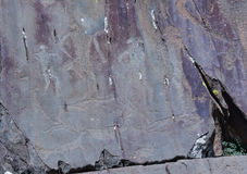 Petroglyphs of Kalbak-Tash in Altai, Siberia Royalty Free Stock Image