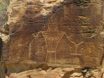 Petroglyphs at McConkie Ranch near Vernal, Utah. One of the many Fremont petroglyph and pictograph  panels on the trail at McConkie Ranch in Dry Fork Canyon Royalty Free Stock Photo