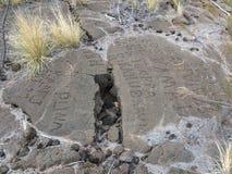 Petroglyphs na reserva do Petroglyph de Waikoloa em Havaí Fotografia de Stock