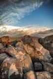 Petroglyphs no parque nacional de Saguaro Fotos de Stock Royalty Free