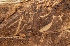 Petroglyphs på tidningen vaggar, förstenades skogen, Arizona Royaltyfria Bilder