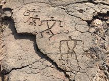 Petroglyphs Petroglyph Waikoloa στην επιφύλαξη στη Χαβάη Στοκ Φωτογραφίες