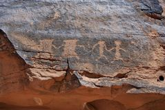 Petroglyphs (Rock Carvings). Ancient rock carvings found in Valley of Fire, Nevada Royalty Free Stock Photos