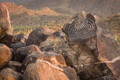 Petroglyphs at Saguaro National Park (West) near Tucson Arizona Stock Photos
