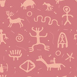 Petroglyphs seamless pattern, vector  Royalty Free Stock Images