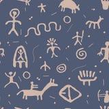 Petroglyphs seamless pattern, vector  Royalty Free Stock Photography