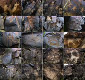 Petroglyphs on the stone in Tambaly or Tamgaly Tas Royalty Free Stock Images