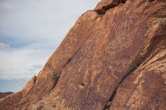 Petroglyphs on the stone in Tamgaly, Kazakhstan Stock Photos