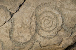 Petrogyph of a Spiral, from Knowth Royalty Free Stock Photo
